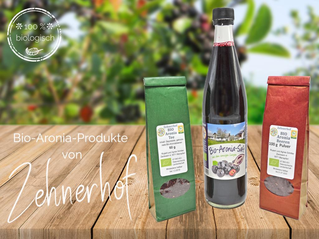 Zu 100 % bio und aus der Region: Die Aronia-Produktpalette von Robert und Agnes Schitter (Zehnerhof) umfasst neben Bio-Aronia-Saft auch Aronia-Pulver und -Tee.